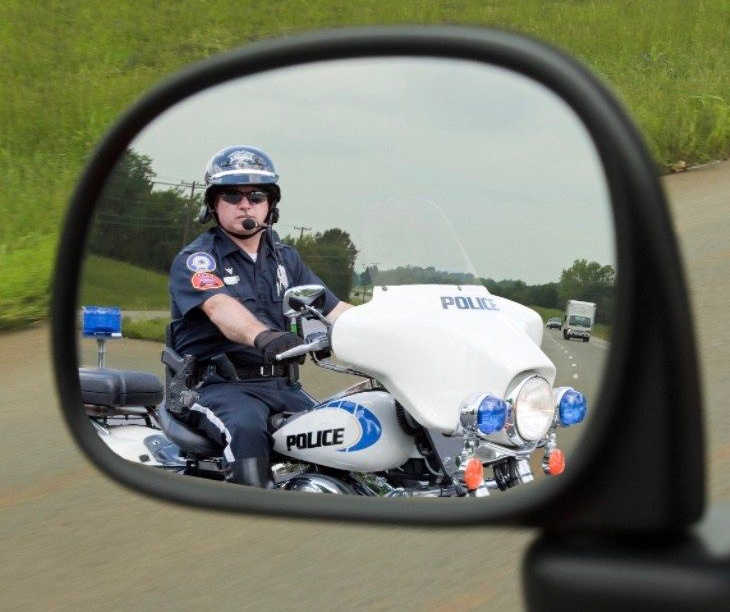 Motorcycle  officer working traffic