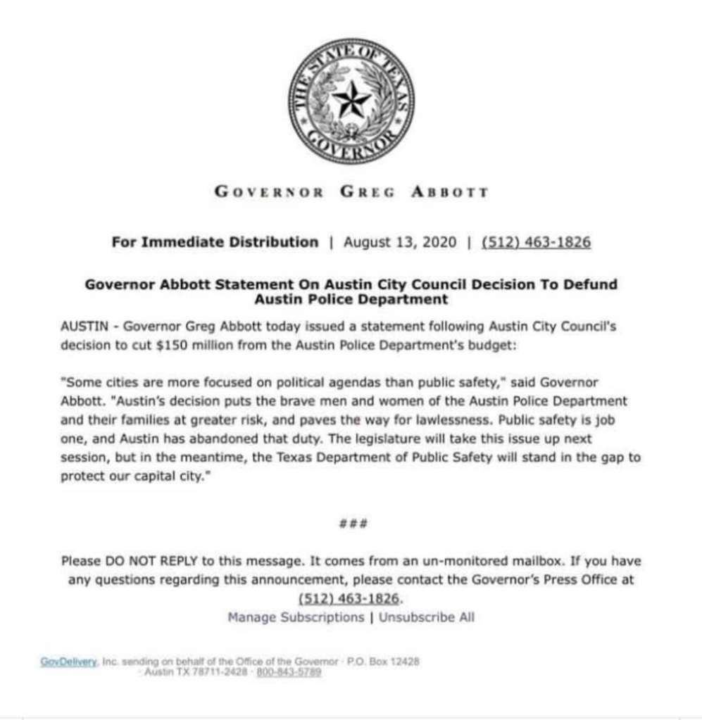 Governor Abbott  response to City of Austin cutting PD  budget